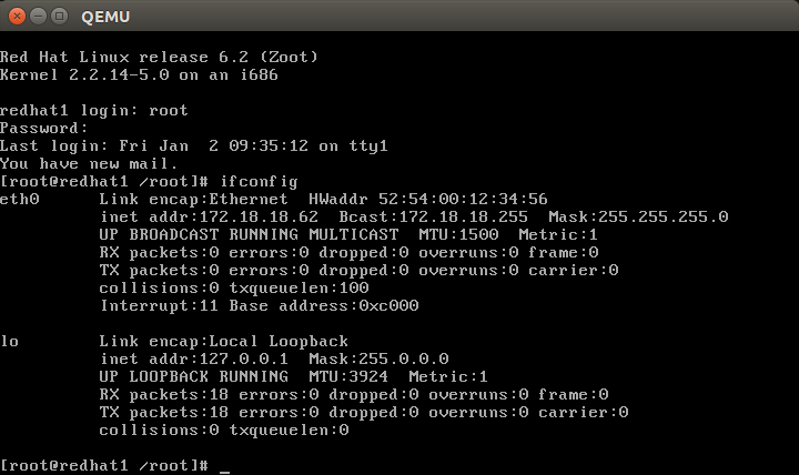 linuxstory-3.16-red-hat-6.2-zoot-ifconfig